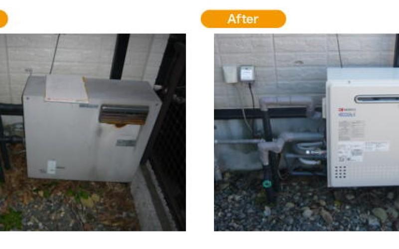 浜松の給湯交換サービスの施工事例です。浜松市中区で給湯器の取替え工事。GT-C2452-ARX BL