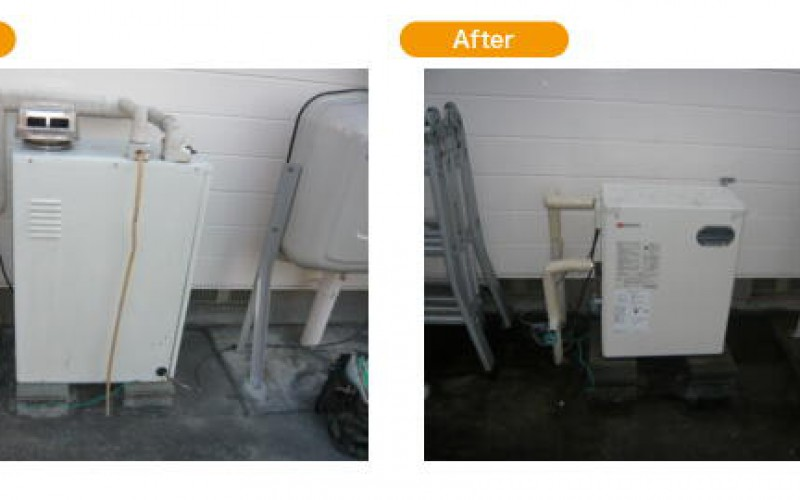 浜松の給湯交換サービスの施工事例です。袋井市で給湯器の取替え工事。OQB-307Y