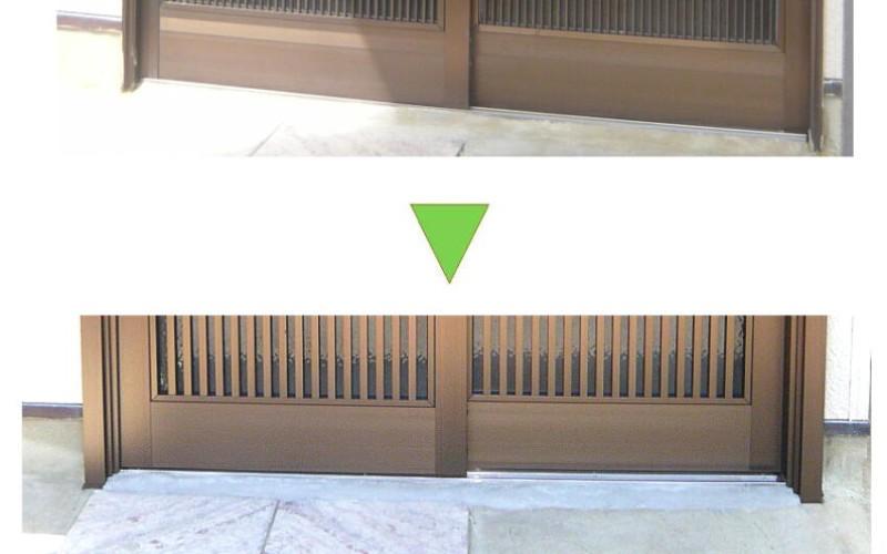 玄関サッシの取替です。玄関引き戸のカバー工法によるリフォーム