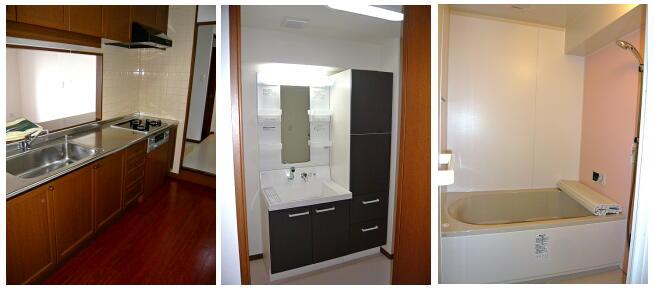 浜松マンションリフォームの施工例です。浴室はユニットバス入れ替え。洗面化粧台、キッチン