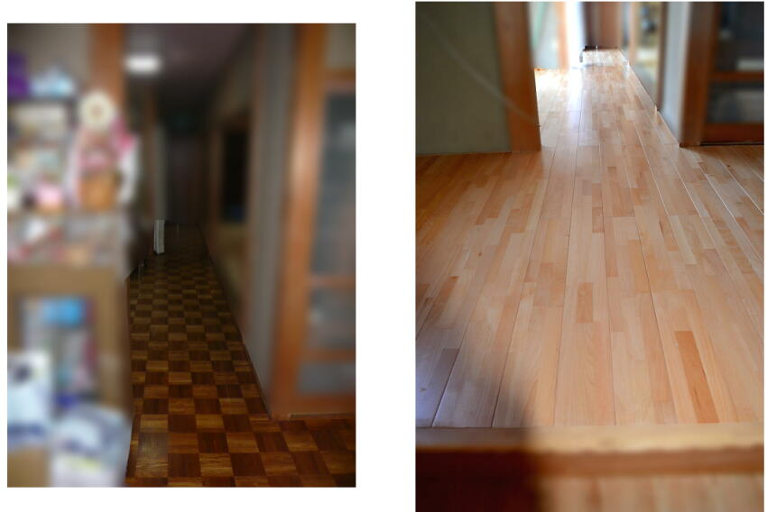 玄関廊下の床の張替工事施工例。Befor-Afterです。