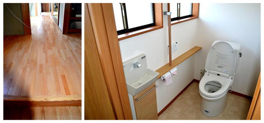 浜松市東区の廊下のフローリングの張替施工例です。WCの改修も施工しました。