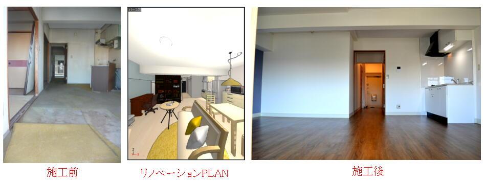 浜松市中区のマンションのリノベーション工事の施工例です。こんな感じで仕上がりました。